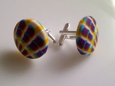 African Print Button Cufflinks Purple Yellow & by JustThingsbyLx, £6.00