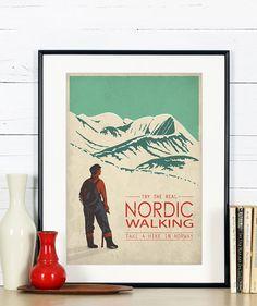 Affiche de voyage rétro, impression minimaliste, Nordic Walking, randonnée, Norvège, explorer la Scandinavie, paysage scandinave, montagnes, art imprimé