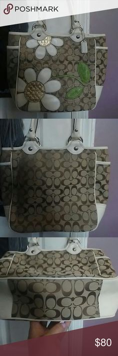 "Coach tote Coach Floral applause khaki signature tote purse. 10"" long. 12"" wide. Strap 8"" drop. Depth 4""  beautiful condition looks new. Coach Bags Totes"