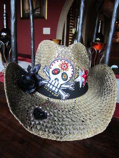Swarovski Crystal Cowboy Hat with Skull   Black Flower by Rhonny K. 573a51b66c77