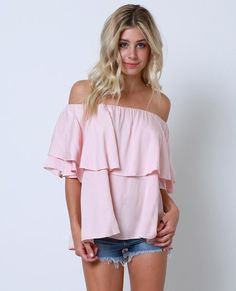 +Non-stretchy gathered off-shoulder top features a ruffle overlay accent bodice
