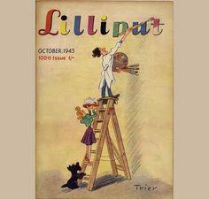 Lilliput Magazine Cover, October 1945, Ludwig Bemelmans Illustration