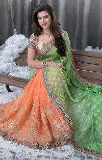 soothing-parrot-green-orange-colour-georgette-jacquard-designer-saree-800x1100.jpg