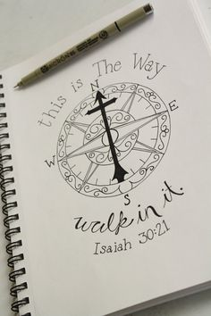 Hand Drawn Print Isaiah 30:21 Compass Scripture by GraceToGrow
