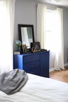 Have you ever wondered how you can create a modern color palette for your home? Check out this home tour from Abby, of Just a Girl and her Blog, to find inspiration. Abby used chic shades, like Compass Blue, to add a pop of bright color to her neutral bedroom. Tour the rest of Abby's house to see how she integrated complementary colors throughout the space.