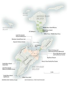 Overview of the Ohio islands, Put-in-Bay (South Bass Island), Middle Bass, Rattlesnake, Sugar, Gibraltar