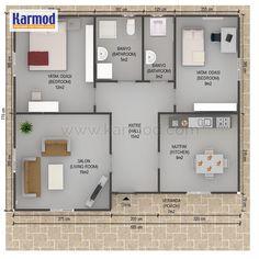 Prefabrik Ev Planları 2 Bedroom House Design, 2 Bedroom House Plans, 2bhk House Plan, Cottage Style House Plans, House Map, Tiny Spaces, House Layouts, Floor Design, Home Decor Furniture
