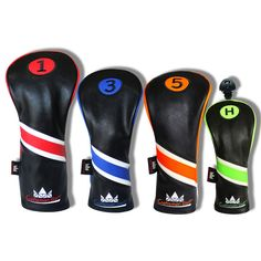 fa5c698debe Black Leather Colorful Numbers Golf Head Cover Set