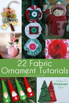 So many cute ornaments to create.  A round up of 22 of the webs best Christmas ornament tutorials featuring fabric