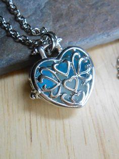 Sea Glass Jewelry - Beach Glass Locket Necklace - I HEART YOU