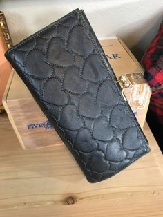 Nordstrom LOVCAT Paris Black Leather Quilted Heart Wallet Jewels Kiss Lock ID | eBay
