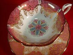 Paragon TEA CUP AND Saucer Abstract Floral Pink Panels Heavily Gilded IN Gold