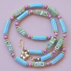 Handmade Pastel Krobo Beads on Leather, Necklace.$38