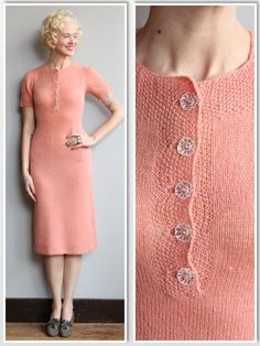 1930s Dress // Carnation Wool Knit Dress // by dethrosevintage