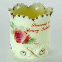 Coney Island NY Souvenir Custard Glass Toothpick Holder Jefferson 1913