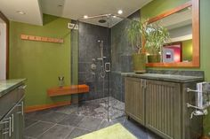 I like the color of the shower walls and the floor