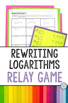This rewriting logarithms class relay activity is a blast! This easy-to-implement activity gives students a chance to practice rewriting exponential and logarithmic equations. Algebra 2 Activities, Algebra 2 Worksheets, Algebra 1, Relay Games, Maths Solutions, Math Classroom, Lesson Plans, Keys, Students