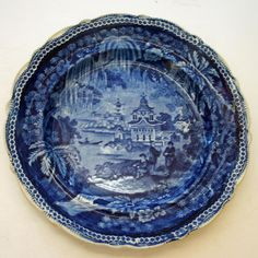 Here is a wonderful antique English historical blue transferware plate that has been lovingly treated over its life of about two centuries. The plate