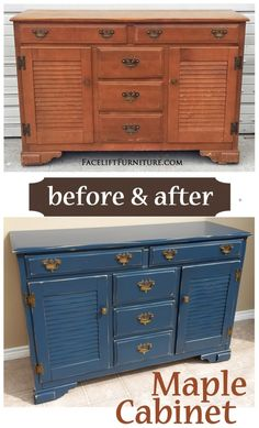 Maple cabinet painted, glazed and distressed in Denim Blue with Black Glaze. - - Maple cabinet painted, glazed and distressed in Denim Blue with Black Glaze. Before & After – Facelift Furniture. Distressed Furniture, Repurposed Furniture, Shabby Chic Furniture, Painted Furniture, Distressed Denim, Vintage Furniture, Building Furniture, Furniture Making, Home Furniture