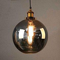 Cozyle Industrieller Vintage Style Edison-Anhänger-hängendes Licht Glas Rauch-Kugel: Amazon.de: Beleuchtung