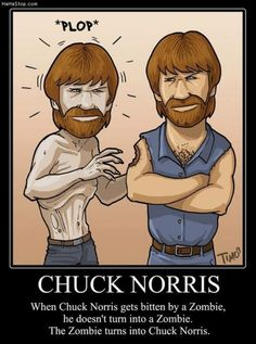 Worst Chuck Norris joke ever. Chuck Norris zombies would never die. Chuck Norris would never be bitten by a zombie! Memes Humor, Funny Memes, Jokes, Chuck Norris Memes, Zombie Walk, Zombie Zombie, Zombie Gifts, Zombies, Arquitetura