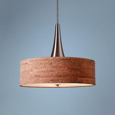"""This is what we ordered for 22 Clinton dining room 9/15.  Liked the warm natural cork with the metal core. Also like that it has a light diffuser on bottom. Also like the 22"""" diameter. Bulletin 22"""" Wide Natural Cork Pendant"""