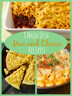 Mac and Cheese is put in the spotlight with these eight Main Dish Mac and Cheese Recipes! #kidfriendly #dinner