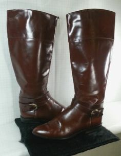 Charles David Italy Tall Leather Boots Equestrian Riding Ankle Strap Buckle 7AA Gorgeous, tall rich brown Italian leather Knee High Boots with Ankle Strap Buckle around the ankle in excellent pre-owned condition with very little wear stamped Charles David Made In Italy on each sole, size 7AA. FREE PRIORITY SHIPPING @ www.iBidBuyShip.com!