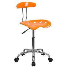 This Vibrant Computer Task Chair will offer comfort and function in a simple design. It features pneumatic height adjustment and comes in a bright color with a tractor seat.