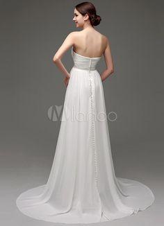 Vestido de casamento do Chiffon a linha Império cintura com cinto de pérolas-No.4