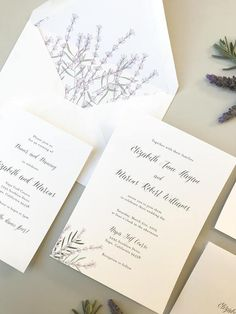 Lavender Floral Wedding Invitation Sample / Letterpress or Digital Printing / Simple, Purple, Botanical Invitation Suite / #1155
