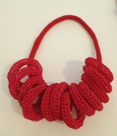 rikki vrieswijk - necklace paper yarn, felt, french knitting
