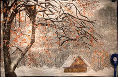 Snowing quilt - created by Abeer Khammish of Saudi Arabia - Dubai International Quilt Show 2014.  Effect of snowing is wonderful!