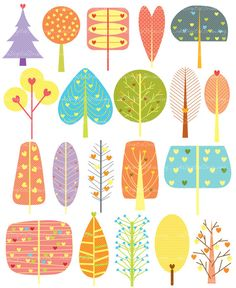 20 tree clip art - high resolution - personal and commercial use. Doodle Drawing, Doodle Art, Line Art Vector, Christmas Drawing, Mid Century Art, Wedding Art, Wedding Gifts, Plant Illustration, Painting For Kids