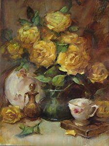 Roses-and-Duchess-China by Barbara Schilling Oil ~ 20 x 16