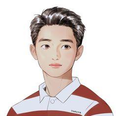 Cre: the owner/as logo Kyungsoo, Kaisoo, Exo Anime, Exo Lockscreen, Exo Fan Art, Kpop Drawings, Exo Do, Do Kyung Soo, K Pop Star