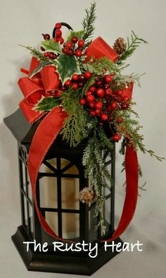 Lovely idea. Porch Lanterns, Christmas Lanterns, Christmas Swags, Lanterns Decor, Woodland Christmas, Christmas Table Decorations, Holiday Wreaths, Rustic Christmas, Holiday Crafts