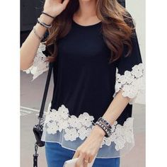 Wholesale Stylish Round Neck Long Sleeve Spliced Hollow Out Blouse For Women (WHITE,L), Long Sleeves - Rosewholesale.com