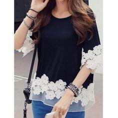blusa negra encaje blanco