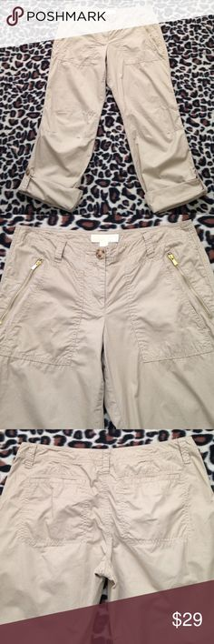 Michael Kors Pants MICHAEL Michael Kors pants with gold zippered pockets. Pants can be worn rolled to capris. These are a lightweight, 100% cotton. Washed these once, never worn. Perfect condition!!!! MICHAEL Michael Kors Pants