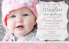 Winter ONEderland photo invitation - snowflake first birthday on Etsy, $12.00