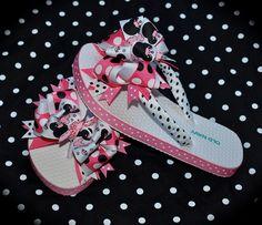 Custom Boutique Ladies Womens Mommy Disney Vacation Pink Black Princess  MINNIE MICKEY MOUSE Birthday Party Ribbon Flip Flops m2m Free Ship. $33.00, via Etsy.