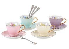 Jusalpha® Porcelain Coffee Bar Espresso Cups and Saucers Set, 2-Ounce #Jusalpha