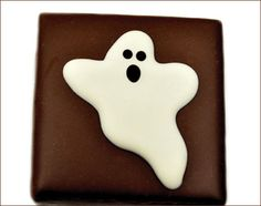 Milk Chocolate Ganache painted with friendly Ghost from Anna Shea Chocolates. Boo!