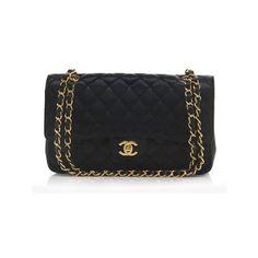 Rental Classic Medium Double Flap Bag ($450) ❤ liked on Polyvore featuring bags, handbags, shoulder bags, black, leather shoulder handbags, chanel purses, leather purse, black handbags and genuine leather purse