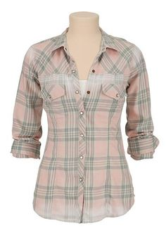 washed plaid button down shirt (original price, $29) available at #Maurices