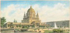 Historical Designs / Utopias / Monuments - Never built - Page 7 - SkyscraperCity Monumental Architecture, Neoclassical Architecture, Classic Architecture, Architecture Drawings, Gothic Architecture, Historical Architecture, Residential Architecture, Amazing Architecture, Architecture Design