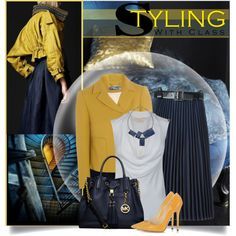 Navy Blue & Mustard by brendariley-1 on Polyvore featuring MICHAEL Michael Kors, Chloé, Toga, Jimmy Choo, One Button and Theia