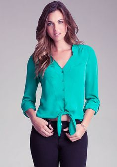 Patch Pocket Tie Front Shirt