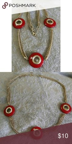 """Red circle bead necklace Adjustable to 15"""", 30"""" all around. Jewelry Necklaces"""